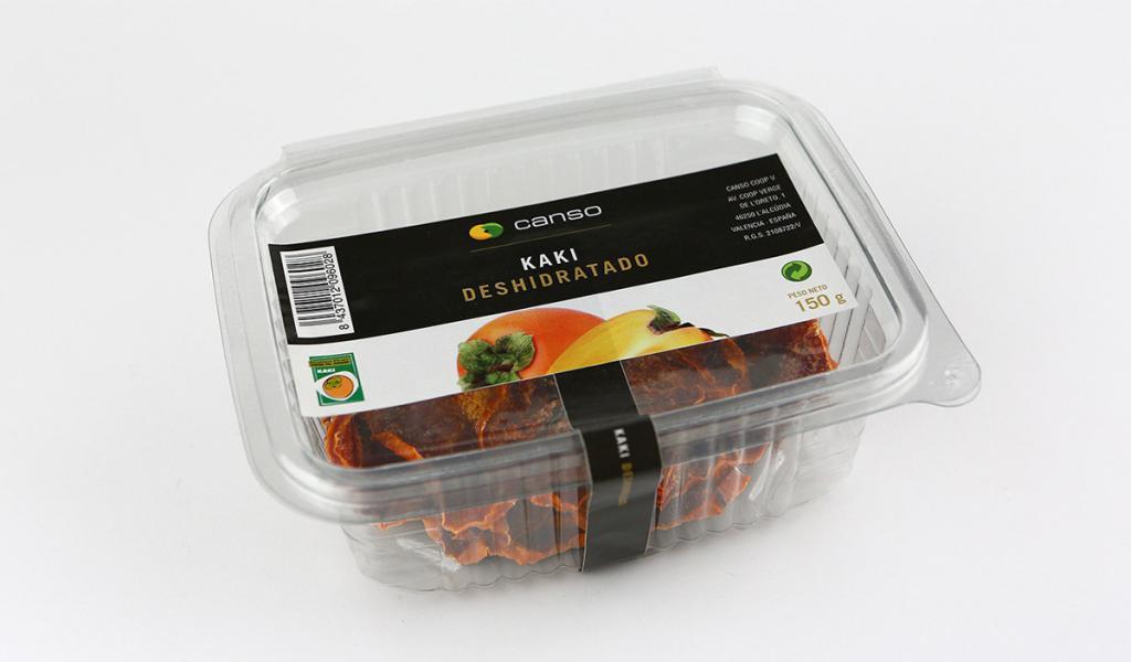 Etiqueta adhesiva con cierre para packaging de Kaki deshidratado.