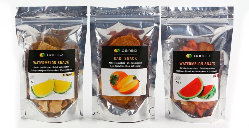 Etiquetas para snacks de frutas deshidratadas.